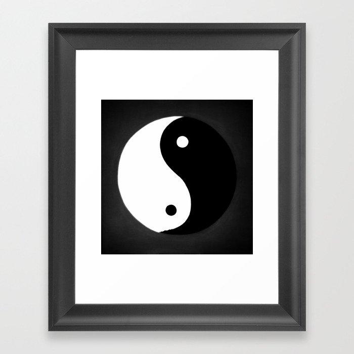 Yin and Yang BW Gerahmter Kunstdruck