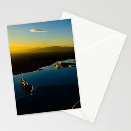 sunset in pamukkale Stationery Cards