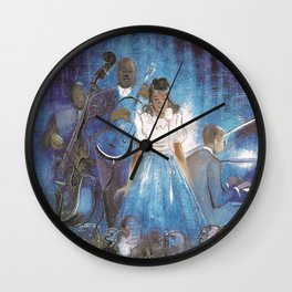 African American Masterpiece 'Billie Holiday Singing the Blues' by J. Robinson Wall Clock