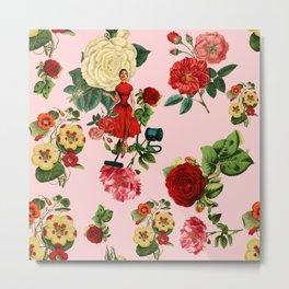 Keep it clean floral collage pink Metal Print