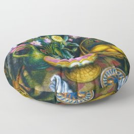 Still Life with Calla Lily, Zinnia, Flowers, Bird, Fruit, & Candy Bowl by Edward Middleton Manigault Floor Pillow