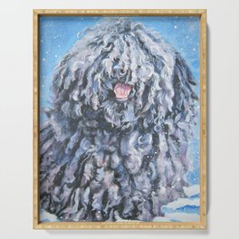 Puli dog art portrait from an original painting by L.A.Shepard Serving Tray