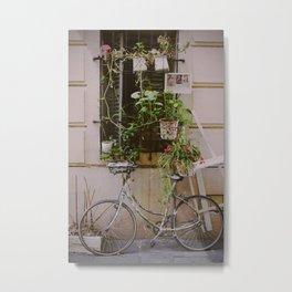 Vintage scene with bike and flowers in Nice, Blue Coast of France Metal Print