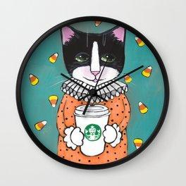 Halloween Clown Coffee Cat Wall Clock