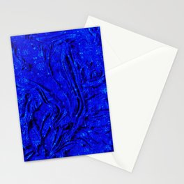 N30 - Indigo Lovely Calm Blue, Moroccan Traditional Texture Painting Stationery Cards