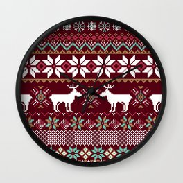 Vintage Christmas Knitted Ugly sweater illustration Pattern. Festive Fair isle Design. Christmas knitted pattern Wall Clock