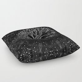 Tree of Life Drawing Black and White Floor Pillow