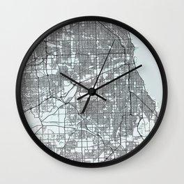 Chicago, USA, White, City, Map Wall Clock