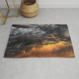 Watercolor Sky No 6 - dramatic storm clouds Rug