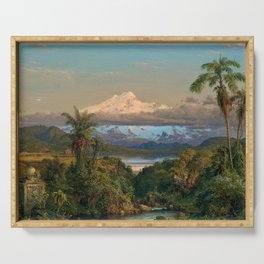 Volcán Cayambe, Ecuador Landscape Painting by Frederic Edwin Church Serving Tray