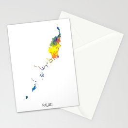Palau Watercolor Map Stationery Cards