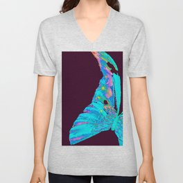 Turquoise Butterfly On A Dark Background #decor #society6 #buyart Unisex V-Neck