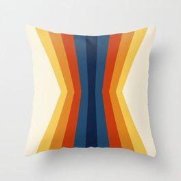 Bright 70's Retro Stripes Reflection Throw Pillow