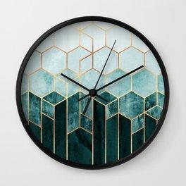 Teal Hexagons Wall Clock