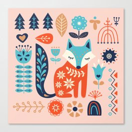 Soft And Sweet Scandinavian Fox Folk Art Canvas Print