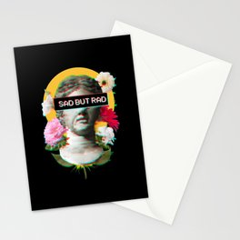 Sad But Rad - David Statue Aesthetic Flowers Art Stationery Cards
