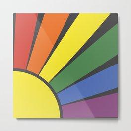 Rainbow sun rays Metal Print