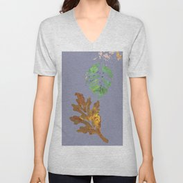 Fall Leaf Painting in blue gray brown green gold Unisex V-Neck