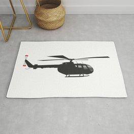 Black German Helicopter Bo105 Rug