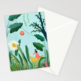 Spring raining with a cute girl Stationery Cards