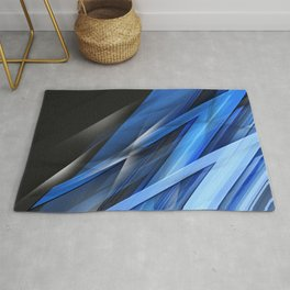 blue shards  lines dark background art abstract material Rug