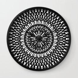 Chess Pieces Mandala - Grayscale Wall Clock