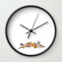 Flower crown doodle Wall Clock