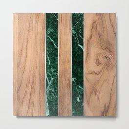 Striped Wood Grain Design - Green Granite #901 Metal Print