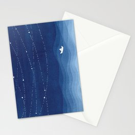 Follow the garland of stars, ocean, sailboat Stationery Cards