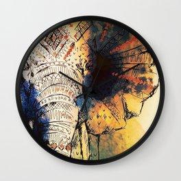 Watercolor elephant & mandala art Wall Clock