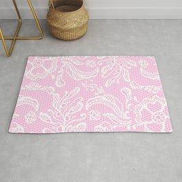 Pink Vintage Lace Rug