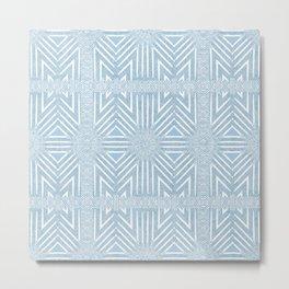 Nappy Faux Velvet Framed Wicker Repeat in Blue Metal Print