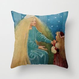 The Princess and the Goblin fairy tale children's portrait painting by Jessie Wilcox Smith Throw Pillow