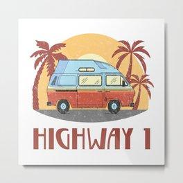 Highway 1  TShirt Vintage Caravan Shirt Travel Road Gift Idea Metal Print
