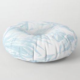 Blue Tropical Palm Leaves Print Floor Pillow