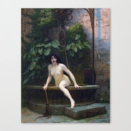 TRUTH COMING OUT OF HER WELL TO SHAME MANKIND - JEAN-LEON GEROME Canvas Print