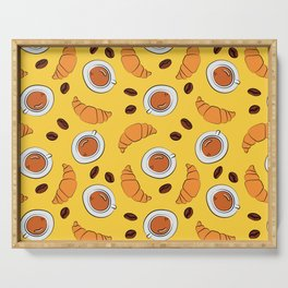 Coffee and croissant breakfast pattern on yellow background Serving Tray
