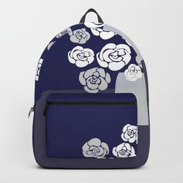 White Roses in Vase on Blue Backpack