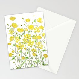 yellow buttercup flowers filed watercolor  Stationery Cards
