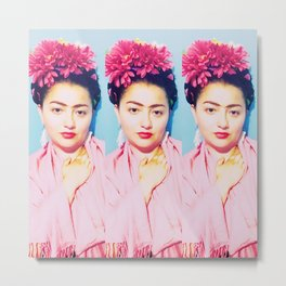 Tres Fridas in Pink Metal Print