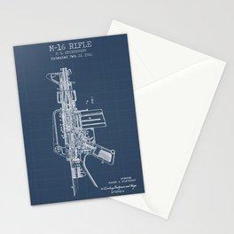 M-16 rifle blueprint Stationery Cards