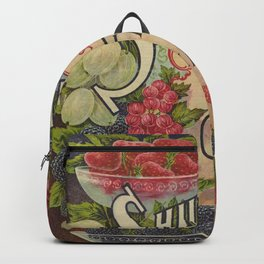 Seed Catalog Garden Floral Fruit Raspberry Blackberry Plate Frame Strawberry Grapes Backpack