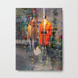 Boutique shop store window with fashion trends of fall  Metal Print