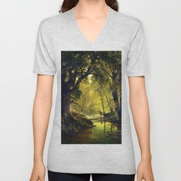 Angler in the Forest Interior by Thomas Hill Unisex V-Neck