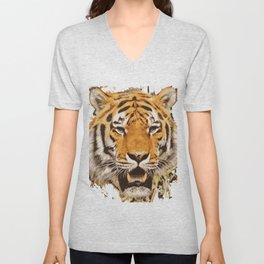 tiger face vektor Unisex V-Neck