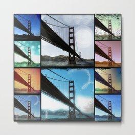 Golden Gate Bridge colorful Photo Collage Metal Print