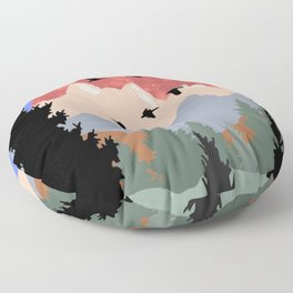 Mountain Geese Scene Floor Pillow