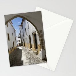 Marvao cobbled street Stationery Cards