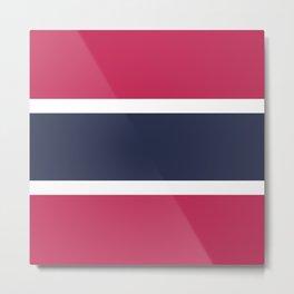 Navy Fuchsia Stripes Metal Print