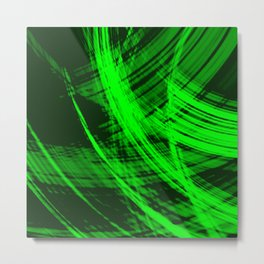Sharp filaments of metallic malachite threads with the energy of magic.  Metal Print